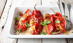 Poivrons doux au four, mozzarella et tomates