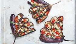 Gegrilde kalkoen met auberginevlinders