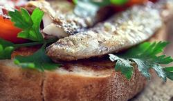 Tranche de pain d'épeautre grillé garnie de sardines, d'ail et de tomates