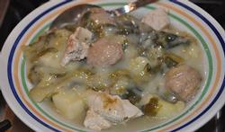 Endives crème et pommes de terre aux boulettes