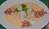 Roulés de filets de sole aux crevettes et aux pétoncles