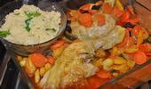 Tajine de poulet aux abricots séchés et à la courgette